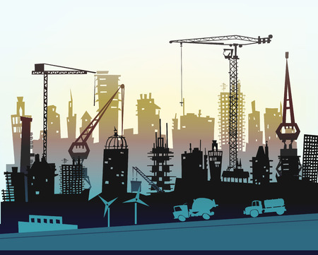 industrial site: Industrial site view with cranes. Heavy industry background