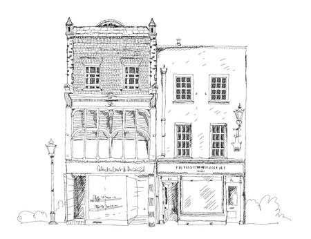 building sketch: Old English town house with small shop or business on ground floor. Sketch collection Stock Photo
