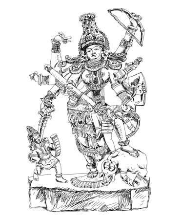 god icon: Hindu God winning the battle with demons. Sketch Stock Photo