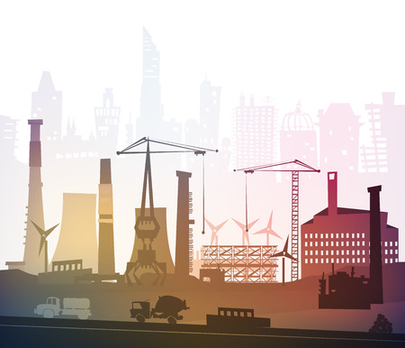 electricidad industrial: Vista de sitio industrial con gr�as. Fondo de la industria pesada