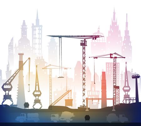 building site: Building site with cranes. City background