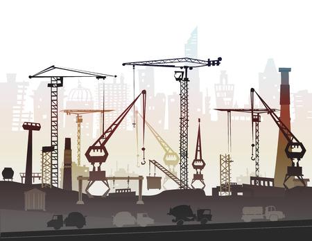 paesaggio industriale: Cantiere con le gru. Città di sfondo Archivio Fotografico