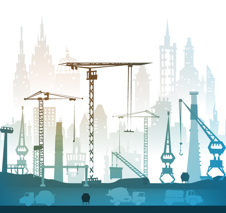 building industry: Building site with cranes. City background