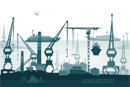 sea port: City port illustration