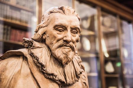 LONDON, UK - NOVEMBER 30, 2014: Sir Robert Bruce Cotton. Sculpture of The Enlightenment Gallery British museum