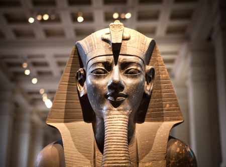 LONDON, UK - NOVEMBER 30, 2014: British museum Egyptian sculpture hall, Pharaoh Rameses Editorial
