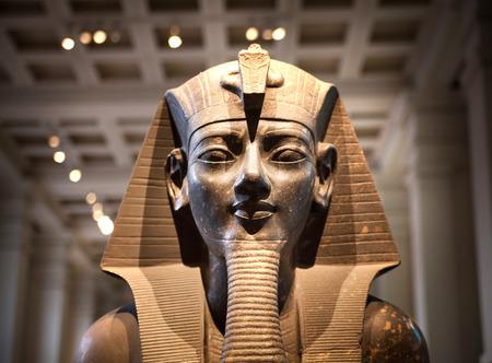 LONDON, UK - NOVEMBER 30, 2014: British museum Egyptian sculpture hall, Pharaoh Rameses Editorial