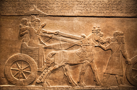LONDON, UK - NOVEMBER 30, 2014: British museum. Hunting, relief from Palace of Assurbanipal in Nineveh, Assyria Imagens - 37712295