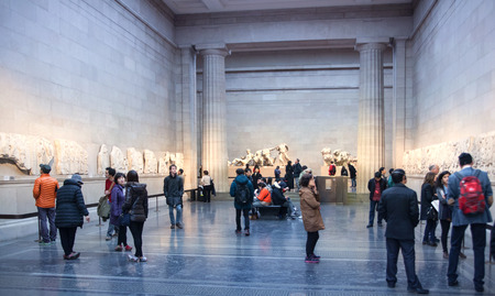 LONDON, UK - NOVEMBER 30, 2014: British museum exhibition hall. Ancient Greek collection Sajtókép