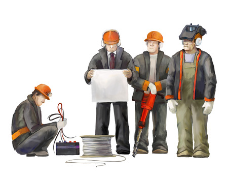deputy: Welder, electrician, jack hammer worker, deputy manage, architect and project manager. Builders working on construction works illustration Stock Photo