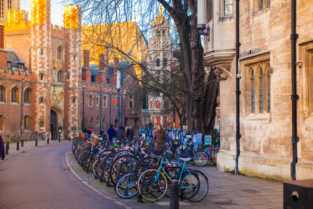 trinity: CAMBRIDGE, UK - JANUARY 18, 2015: Trinity street with Trinity college old buildings view