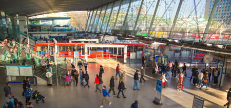 tube station: LONDON, UK - NOVEMBER 29, 2014: Stratford international train, tube and bus station, one of the biggest transport junction of London and UK. Editorial