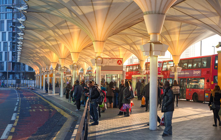 stratford: LONDON, UK - NOVEMBER 29, 2014: Stratford international train, tube and bus station, one of the biggest transport junction of London and UK. Editorial