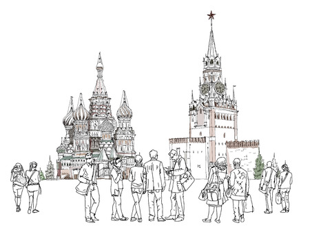 iconic architecture: People and tourists at the Red Square in Moscow, Sketch collection