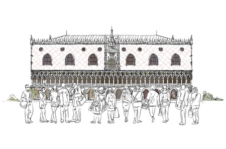 iconic architecture: People and tourists in front of Doges in Venice, Sketch collection