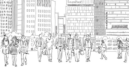 iconic architecture: People and tourists at the London streets, Sketch collection