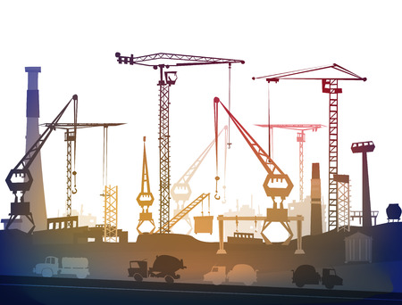 heavy industry: Industrial site view with cranes. Heavy industry background