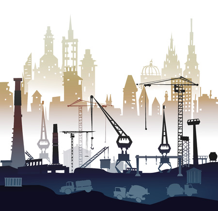 industrial park: Building site with cranes. City background