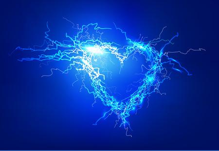 rayo electrico: Coraz�n humano. Las luces el�ctricas efecto de fondo. Foto de archivo