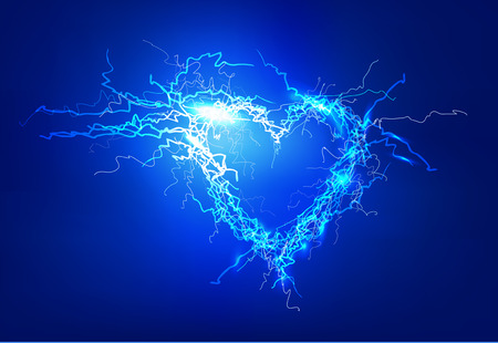 bolt: Human heart. Electric lights effect background. Stock Photo