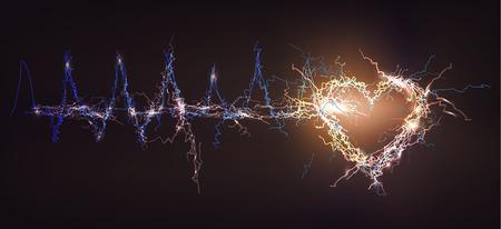 Human heart. Electric lights effect background. Stok Fotoğraf