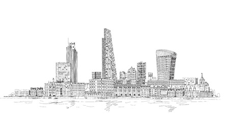 river thames: London, City view from the Thames river. Sketch collection Stock Photo