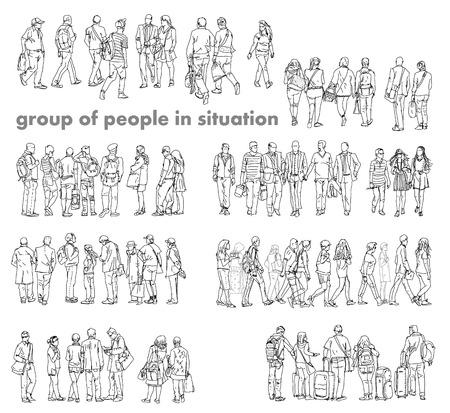 Siluetas de la gente que camina, el cuidado bolsas, hablar por teléfono, etc Colección del bosquejo Foto de archivo - 38223366