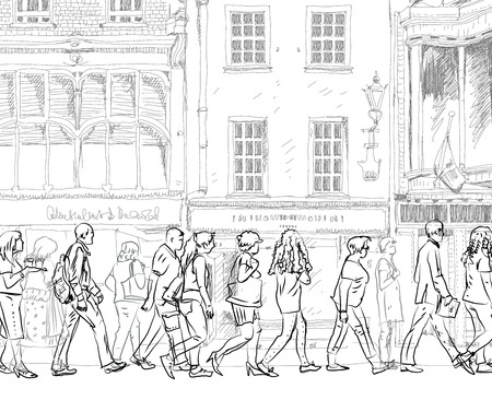 iconic architecture: People and tourists on the London streets, Sketch collection