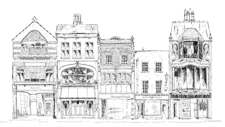 small town: Old English town houses with small shops or business on ground floor. Bond street, London. Sketch collection