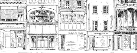 shops street: Old English town houses with small shops or business on ground floor. Bond street, London. Sketch collection