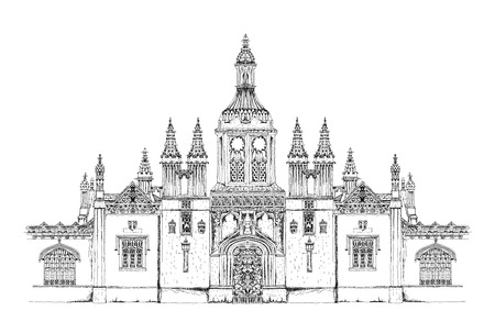 great hall: Kings collage main entrance gate. Cambridge. Sketch collection