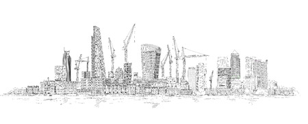 gherkin: Modern London. City of London and Canary Wharf with crane and building sites of new developments