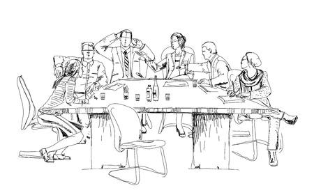 bocetos de personas: Siluetas de hombres de negocios exitosos que trabajan en la reunión. Bosquejo