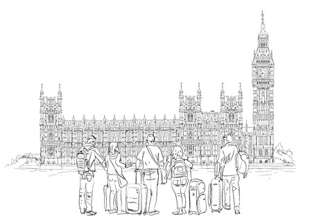 houses of parliament   london: Big Ben and Houses of Parliament with tourists, London UK. Sketch collection Stock Photo