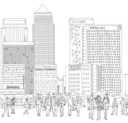 building sketch: Canary Wharf and business people walking on the square