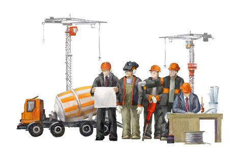 Builders on the building site. Industrial illustration with workers, cranes and concrete mixer machine illustration
