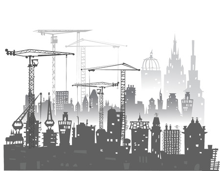building site: Building site with cranes and lorries Stock Photo
