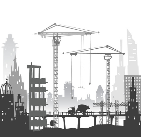 industrial park: Building site with cranes and lorries Stock Photo
