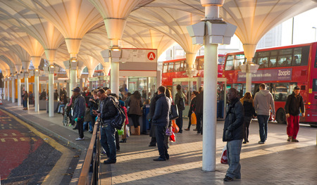 LONDON UK  NOVEMBER 29 2014: Stratford international train and tube station one of the biggest transport junction of London and UK.