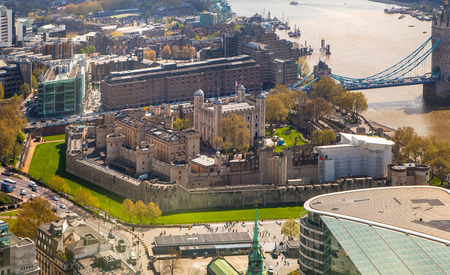 london tower bridge: Tower of London Tower bridge and and River Thames. London panorama form 32 floor of WalkieTalkie building