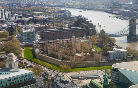 seance: Tower of London Tower bridge and and River Thames. London panorama form 32 floor of WalkieTalkie building