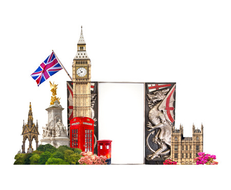 Tourist And Business Collage Londons Famous Buildings Against Of White Background Photo