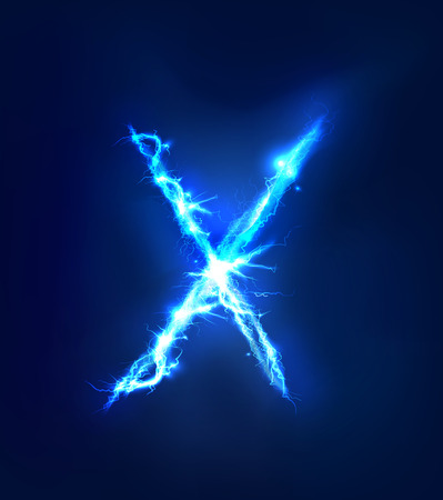 blue toned: Alphabet made of blue electric lighting thunder storm effect. ABC Stock Photo