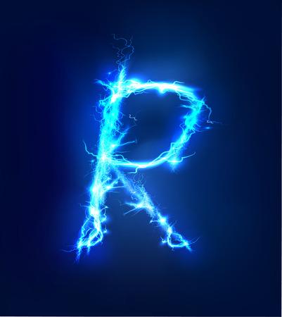 Alphabet made of blue electric lighting thunder storm effect. ABC Reklamní fotografie