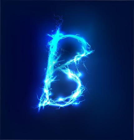 Alfabeto hecho de azul eléctrico de iluminación efecto tormenta de truenos. Abecedario