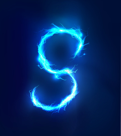 electric blue: Alphabet made of blue electric lighting thunder storm effect. ABC Stock Photo