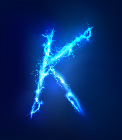 abc: Alphabet made of blue electric lighting thunder storm effect. ABC Stock Photo