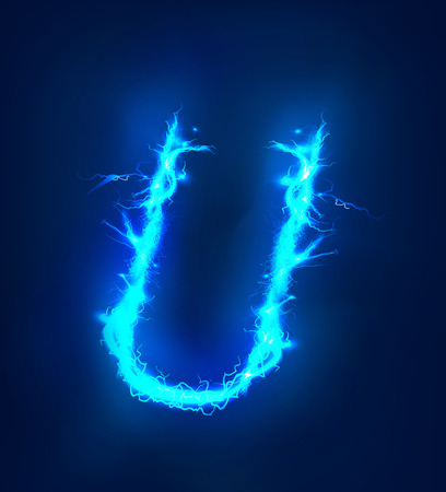 electric storm: Alphabet made of blue electric lighting thunder storm effect. ABC Stock Photo