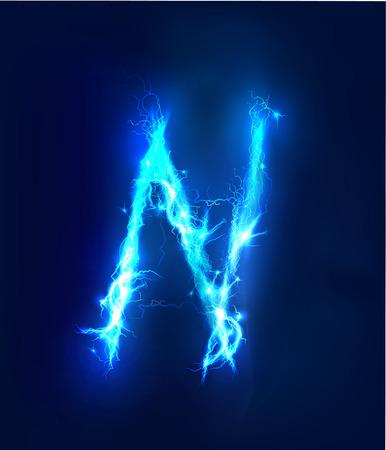 light abc: Alphabet made of blue electric lighting thunder storm effect. ABC Stock Photo