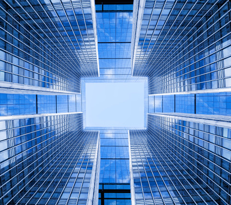 steel building: Architectural composition made of corporative buildings. Abstract business background